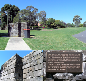 Rosstown Railway - Commemorative plaque in South Reserve at Marara Road, where the line once ran, marking the centenary of the start of construction