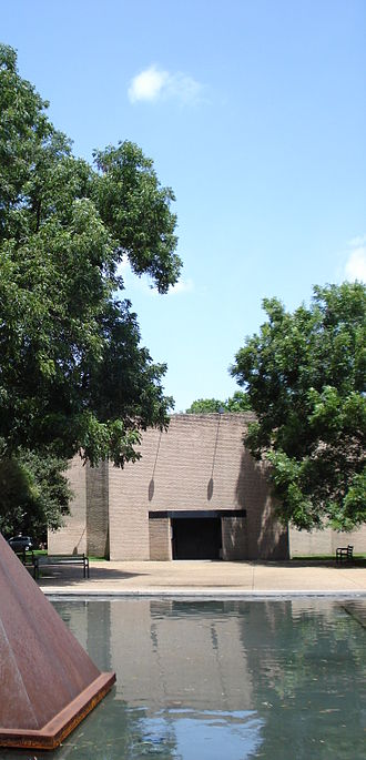Menil Collection - The Rothko Chapel with Barnett Newman's Broken Obelisk in the reflecting pond