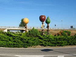 Fruit Roundabout at village entrance