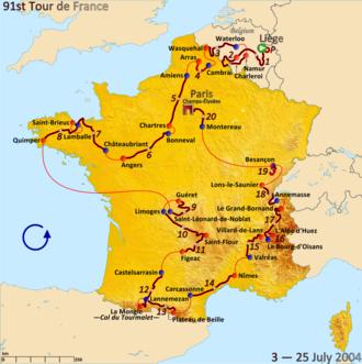 2004 Tour de France - Route of the 2004 Tour de France