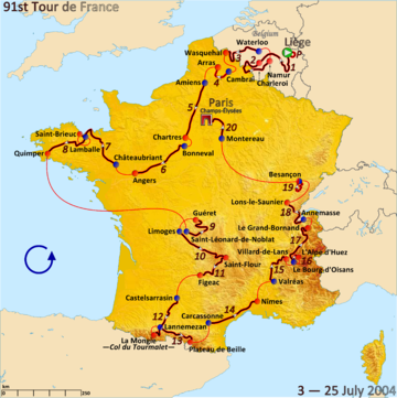 Route of the 2004 Tour de France