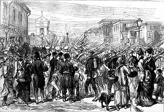Ion Luca Caragiale - The Russian Army in Bucharest, print in The Illustrated London News (1877)