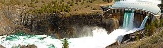 Kerr Dam - Séliš Ksanka Ql'ispé Dam, formerly known as Kerr Dam, was completed in 1938. It dams the Flathead River a few miles below Flathead Lake southwest of Polson, Montana (2017)