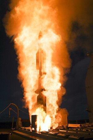 RIM-67 Standard - A RIM-156A (VLS version of the RIM-67) launching from a VLS cell on USS Lake Erie in 2008.