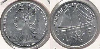 Saint Pierre and Miquelon franc - A 1948 Aluminum Franc coin