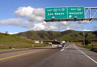 California State Route 152 - Eastbound traffic and signs on Route 152 at its interchange with Route 156.