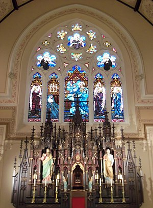 Sacred Heart Cathedral (Davenport, Iowa) - The Sacred Heart window and the reredos in the apse