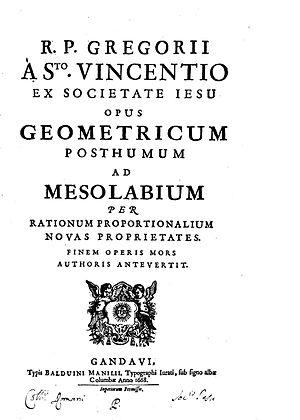 Grégoire de Saint-Vincent - Opus geometricum posthumum, 1668