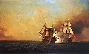 Military history of Nova Scotia - Duc d'Anville Expedition: Action between HMS Nottingham and the Mars.