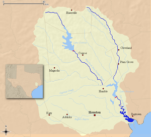 San Jacinto River (Texas) - Map of the San Jacinto River and associated watershed