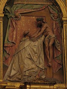 Christus umarmt den Heiligen Bernhard (1613), von Gregorio Fernández (Quelle: Wikimedia)