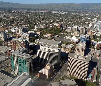 San Jose CA Downtown aerial view 2015