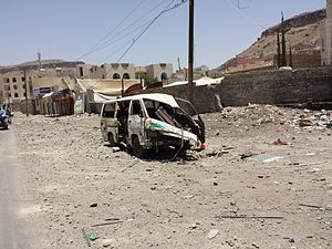 Saudi Arabian-led intervention in Yemen - Destruction in the residential neighborhoods near mountain Attan