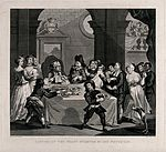 Sancho sits at a table laden with food with his physician Pe Wellcome V0049165.jpg