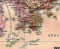 Ladrones Islands and Lema Islands (bottom part of the map) on an 1878 German map
