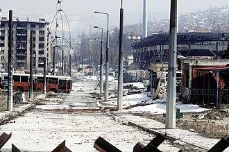 Grbavica (Sarajevo) - Image: Sarajevo 19.3.1996 war