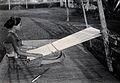 Sarawak; a native girl weaving cotton on a loom. Photograph. Wellcome V0037417ER.jpg