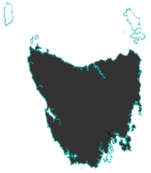 A map showing one large island (Tasmania) and two small islands north of it. The whole of Tasmania is coloured in and the waters and small islands are not, as the devil is not extant there.