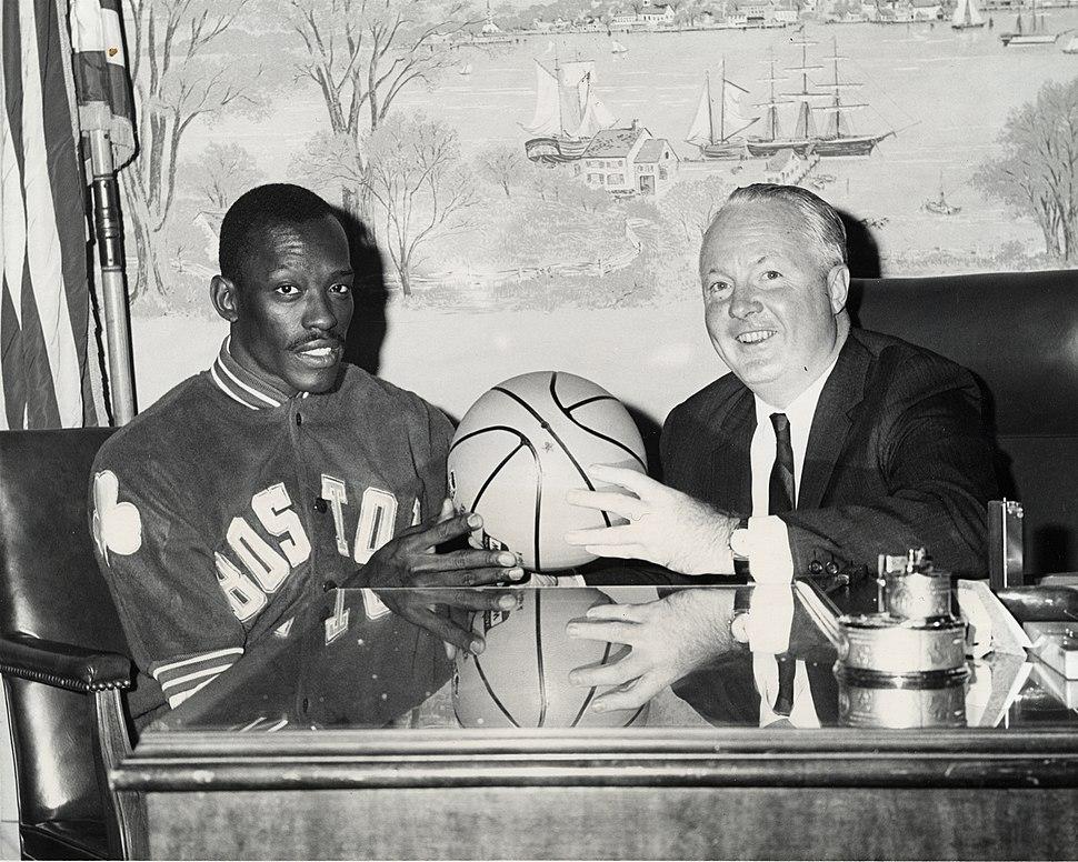 Satch Sander with Boston mayor John F. Collins
