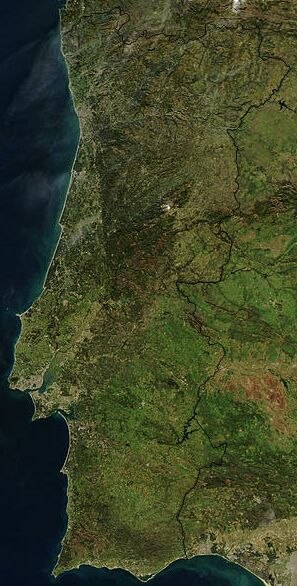 Satellite image of Portugal in January 2004