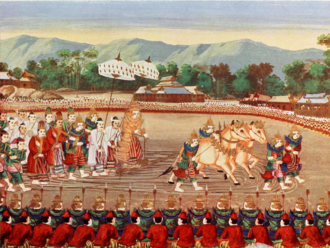 Burmese clothing - Burmese courtiers and the monarch dressed in royal ceremonial costume during a Royal Ploughing Ceremony.