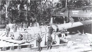 35 cm Marinekanone L/45 M. 16 - The 35 cm Marinekanone M. 16 with its assembly crane