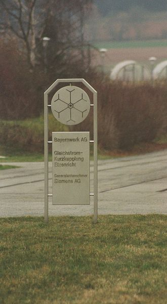 GKK Etzenricht - Sign in front of the inverter hall, photographed in spring 1999, 3.5 years after shut-down
