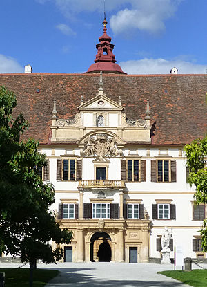 Hans Ulrich von Eggenberg - Eggenberg Palace, built 1625-35, entry portal with the Eggenberg arms