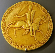 Photograph of the 1195 seal of Richard I of England. Exhibited in the History Museum of Vendee