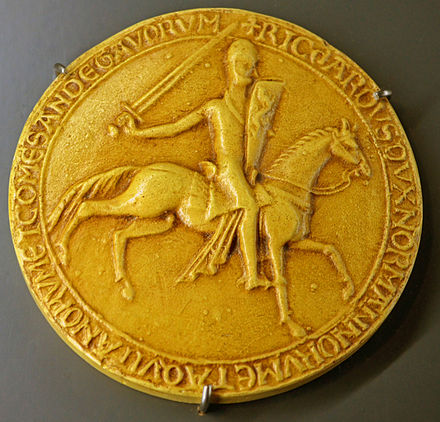 Richard I's Great Seal of 1189; the History Museum of Vendee Seal - Richard I of England.jpg