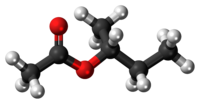 Ball-and-stick model of the sec-butyl acetate molecule