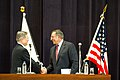 Secretary of Defense Panetta at a Press Conference with Japan's Defense Minister Morimoto (7995087179).jpg