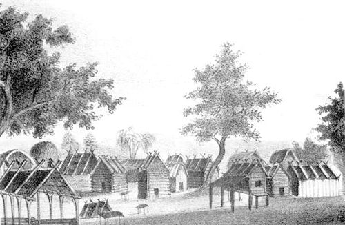 View of a Seminole village shows the log cabins they lived in prior to the disruptions of the Second Seminole War Seminolevillage.jpg