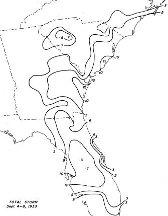 September 1933 Florida hurricane rainfall