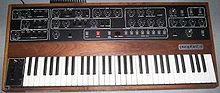 A colour photograph of a synthesizer with a keyboard
