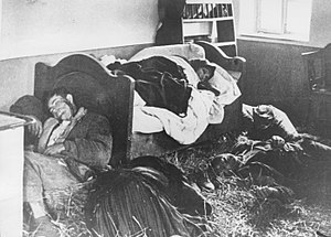 Anti-Serbian sentiment - An entire Serb family lies slaughtered in their home following a raid by the Ustaša militia, 1941.