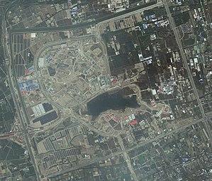 Shanghai Disneyland Park - A satellite view of the resort in 2015.