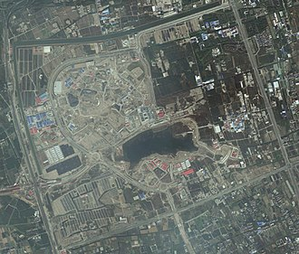 Shanghai Disneyland Park - A satellite view of the resort in 2015.
