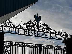 You'll Never Walk Alone - The 'Shankly Gates' entrance to Liverpool's home stadium Anfield