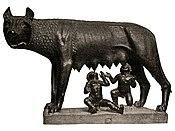 Selon la légende, Rome est fondée par Romulus et Rémus, qui, dans leur enfance, auraient été nourris par une louve.