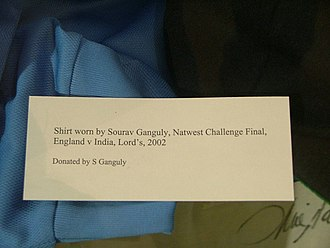 Sourav Ganguly - Shirt swayed by Sourav Ganguly