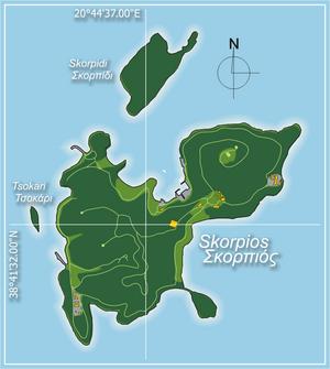 Skorpios - Image: Skorpios map