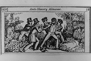 Slave patrol - A woodcut from the abolitionist Anti-Slavery Almanac (1839) depicts the capture of a fugitive slave by a slave patrol.