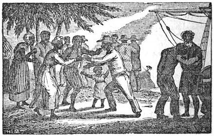 An 1835 illustration of liberated Africans arriving in Sierra Leone Slaves sierra leone.jpg