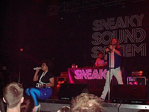 Sneaky Sound System - Sneaky Sound System's three-piece line-up on their Poptronica Tour with (left to right): Connie Mitchell, Black Angus and MC Double D. Metro City, Perth, May 2009.