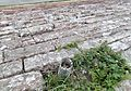 Solway Viaduct telegraph pole base and the red sandstone blocks of the embankment - Bowness-on-Solway, Cumbria.jpg