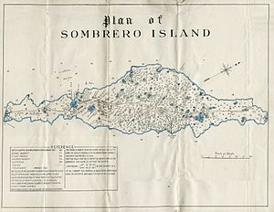 Sombrero, Anguilla - Plan of Sombrero in about 1880 showing mining operations