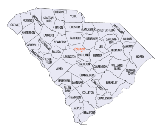 Map of the 46 counties of the State of South Carolina