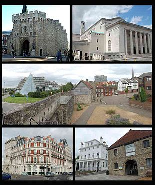 Montage of Southampton. Clockwise from top-left: Bargate; Guilldhall; Top of west walls; Wool house and custom house; Southwestern house