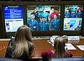 Soyuz TMA-07M crew talks with the Russian Mission Control.jpg